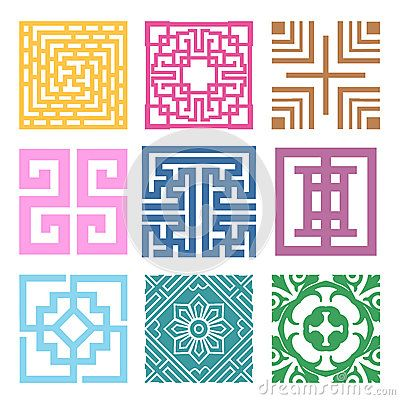 Plaid Symbol sets. Geometric Pattern Design. Korean traditional by Joo Young Cho, via Dreamstime
