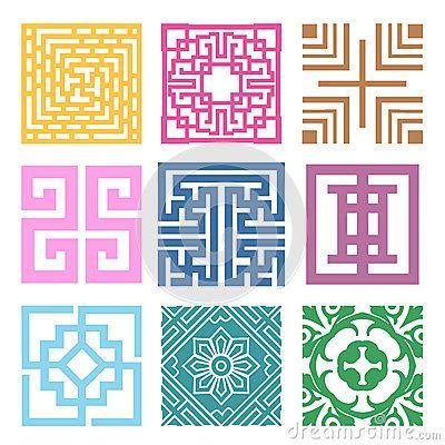 Plaid Symbol sets. Geometric Pattern Design. Korean traditional by Joo Young Cho, via Dreamstime