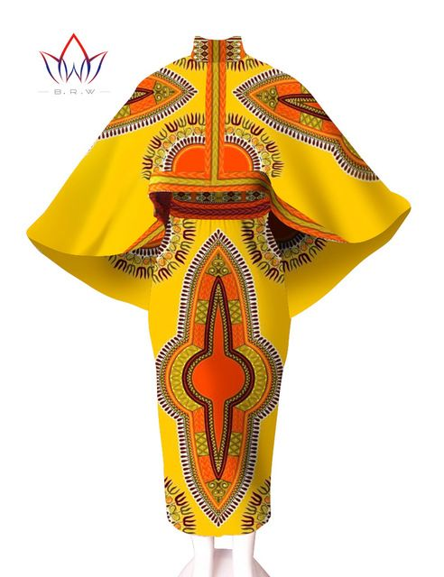 African Print Dresses Women African Skirt 2016 2 Piece Dashiki Dress Unqie Cape Cape 2 Piece Sets Women Plus Size 6XL WY545