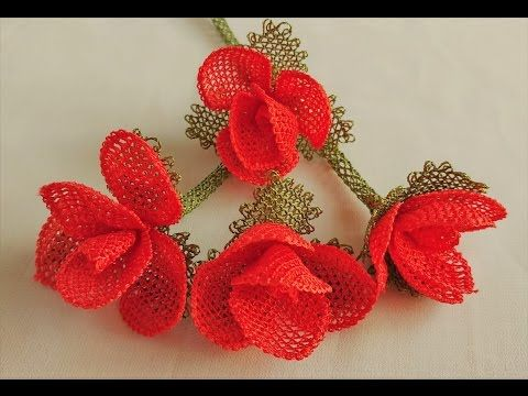 Роза с бутонами  Rose and flower buds Crochet - YouTube