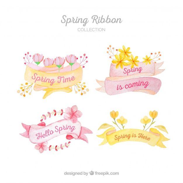Colección de cintas de primavera pintados a mano Vector Gratis