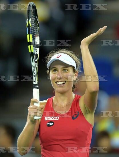 Wuhan Open WTA tennis tournament, China - 30 Sep 2015  Johanna Konta of Britain celebrates her victory after the third round match against Simona Halep of Romania 30 Sep 2015