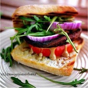 portobello burger with creamy dijon sauce - @amyspieceofcake