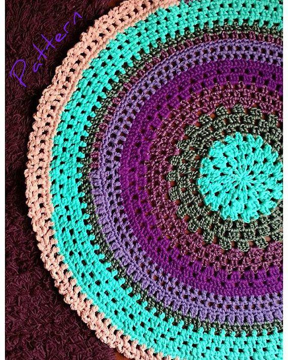 Crochet Pattern Mandala Rug In T Shirt Yarn Colorful Round Etsy T Shirt Yarn Mandala Rug Crochet Patterns