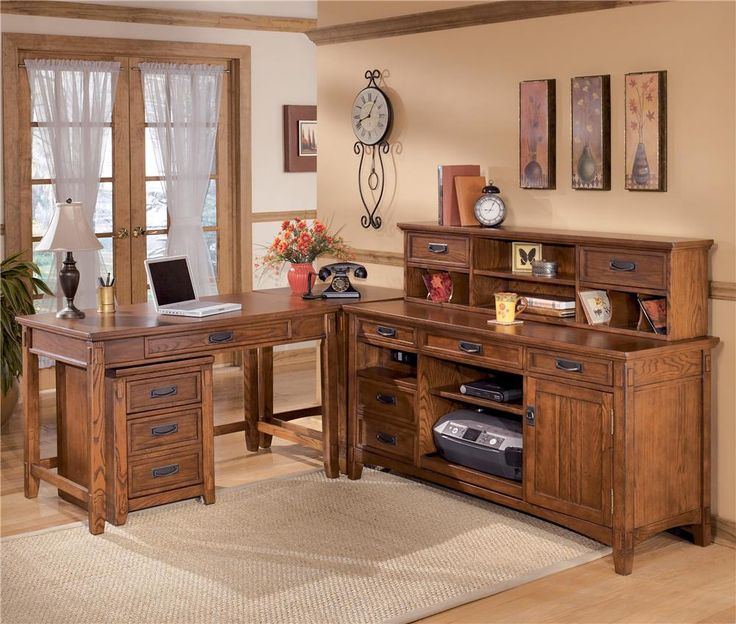 Ashley Furniture Cross Island L-Shape Desk with Credenza and Large Low Hutch - EFO Furniture Outlet - L-Shape Desk Dunmore, Scranton, Wilkes-Barre, NEPA, Bloomsburg, Pennsylvania