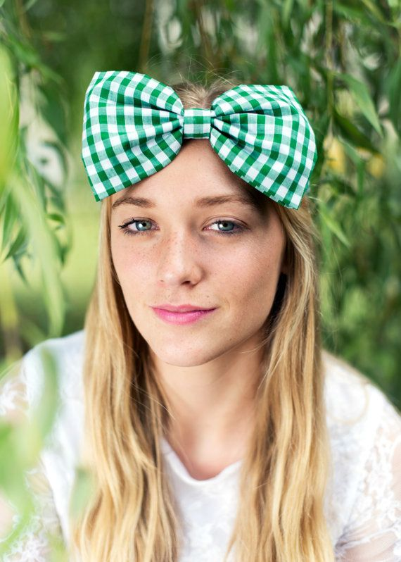 Bow Headband Dolly Bow Gingham Bow Headband Rockabilly by beauxoxo, £12.00