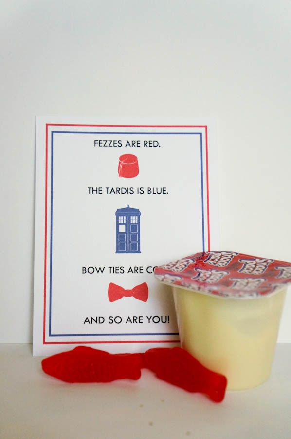 Free Printable Doctor Who Valentines!!!! Give them with (candy) Fish Fingers and Custard!