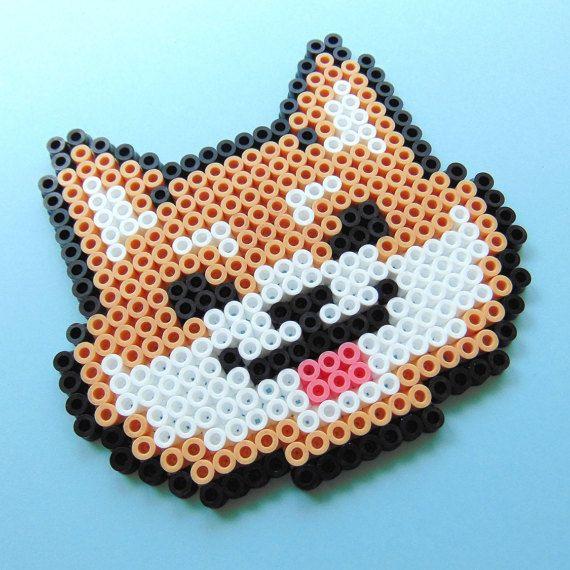 perle hama perler fusible doge meme inspir shiba inu pixel art bead sprite 8 bits 8 bits art. Black Bedroom Furniture Sets. Home Design Ideas