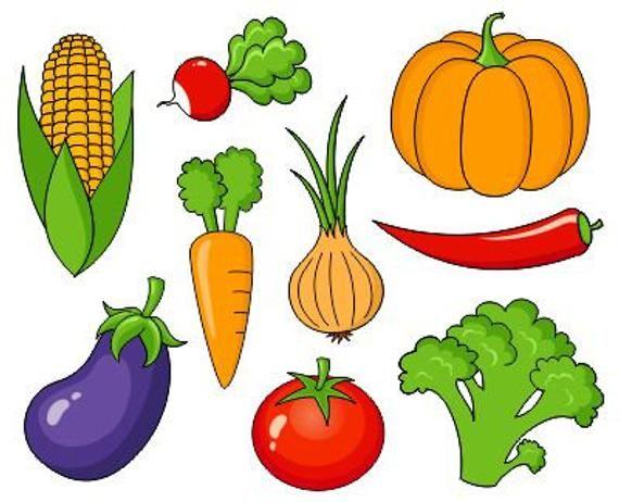 Owoce i warzywa Clip Art Collection, Clipart pakietu - Instant ...