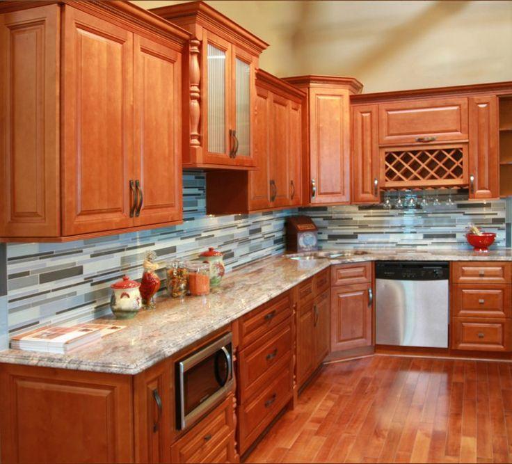 Wholesale Dark Honey All Wood Maple Cabinets Full Overlay