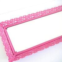 Perfume Tray Vintage Mirror Vanity Tray Bright Pink Wall Mirror Decorative Mirrors