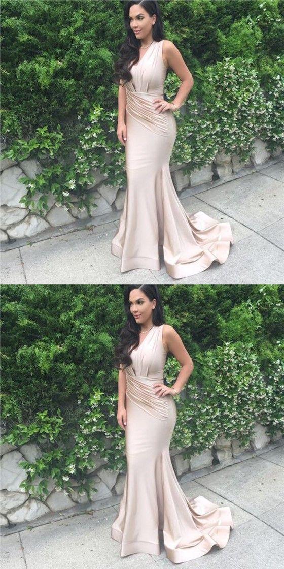 Sleeveless Long Mermaid Nude Satin Prom Bridesmaid Dresses, Cheap Prom Dresses #sofitbridal #promdresses #mermaid #sexy #fashion