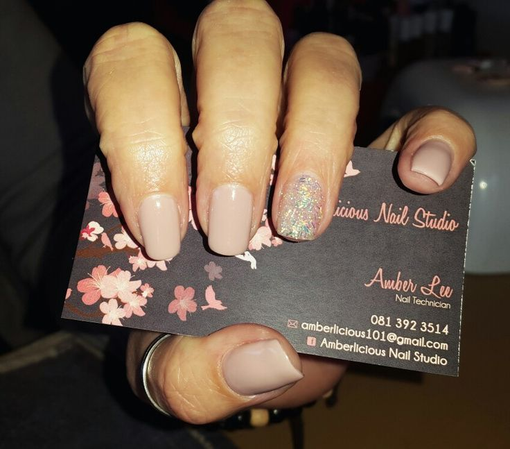 Gel Overlay | nude nails | nude gel polish #glitter accent nails