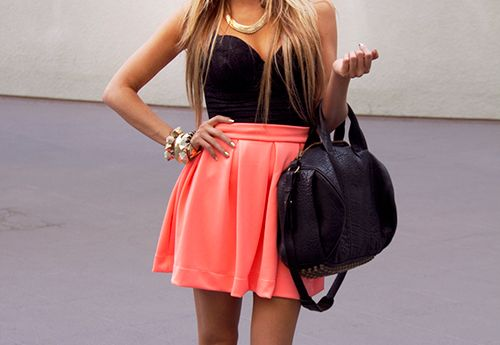 Bright coral skirt!: Outfits, Fashion, Summer Outfit, Style, Skirts, Clothes, Dream Closet, Dresses, Dreamcloset