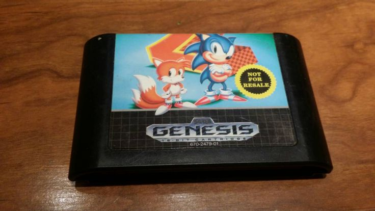 Sonic the Hedgehog 2, Sega Genesis,  video game,  system,  console - not for resale label, tails - pinned by pin4etsy.com