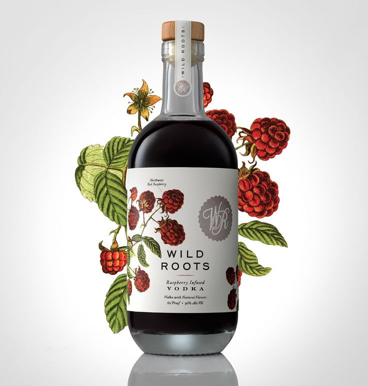 Wild Roots flavoured vodka packaging designed by Sasquatch Agency.