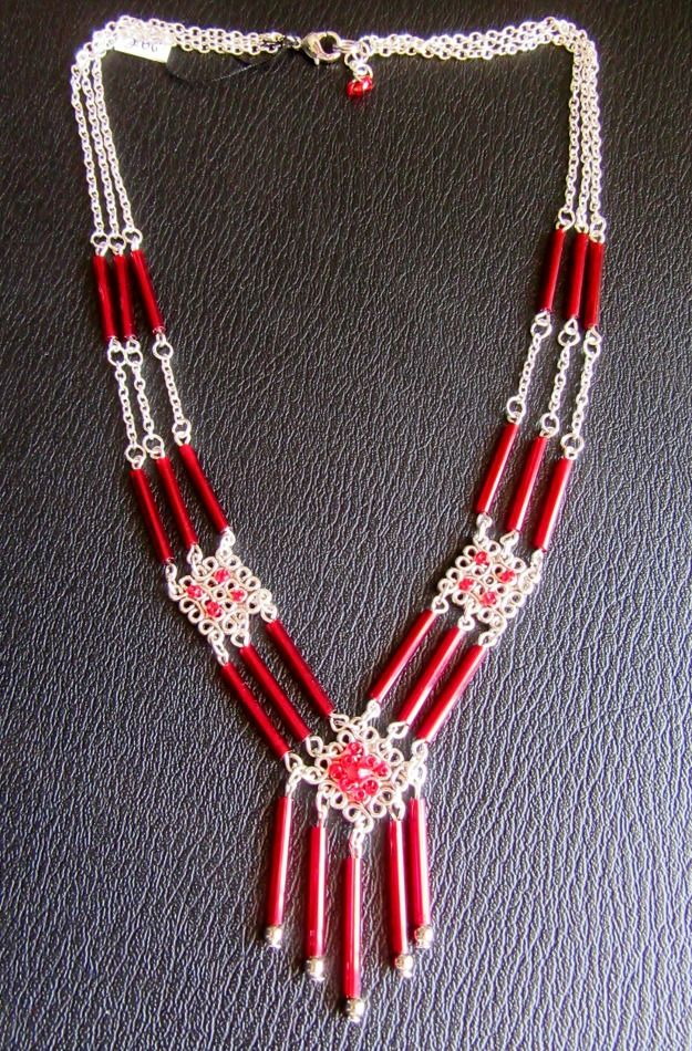 Collier multirangs Rouge et argent
