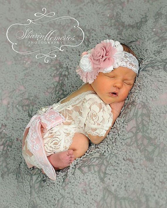 4a3fd0b64 White & Light Pink Baby Romper & Headband *CURRENTLY SHIPPING THIS ITEM IN  3 - 4 WEEKS* NO RUSH ORDERS! Gorgeous newborn girl romper, made of high  quality ...