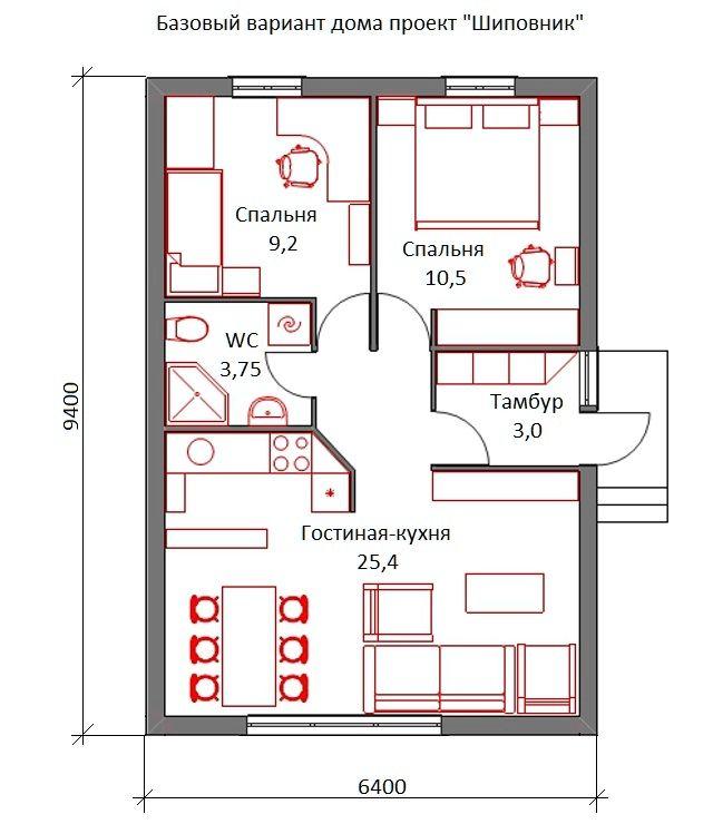 Базовая планировка растущего дома Шиповник