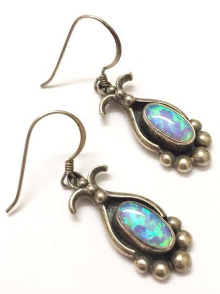 62ee726fb Vintage Sterling Silver Opal Dangle Earrings Signed VM #VM ...