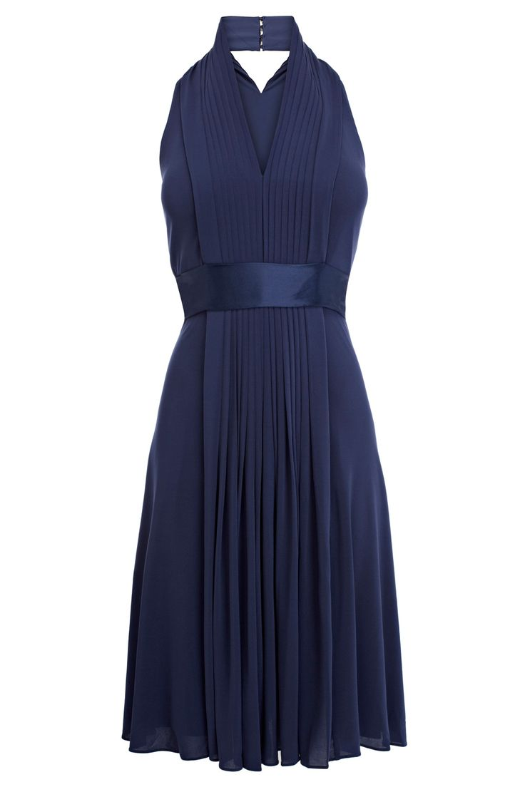 This elegant jersey dress has a stunning halter neck with pleated bodice . The Goddess Short Dress is inspired by the elegance of Grecian designs with striking vertical pleats and a wide waistband for a flattering, draping fit. Perfect for formal occasions, turn heads in this stunning gown and style with contemporary jewellery.