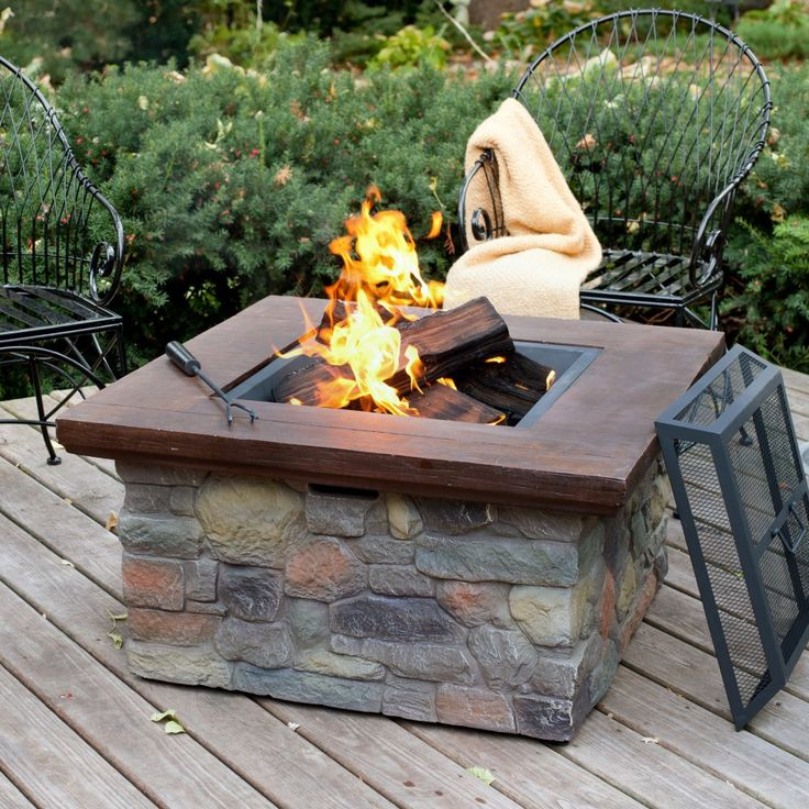 Red Ember Sheridan 35 in. Square Wood Burning Fire Pit Table - Fire Pits at Hayneedle