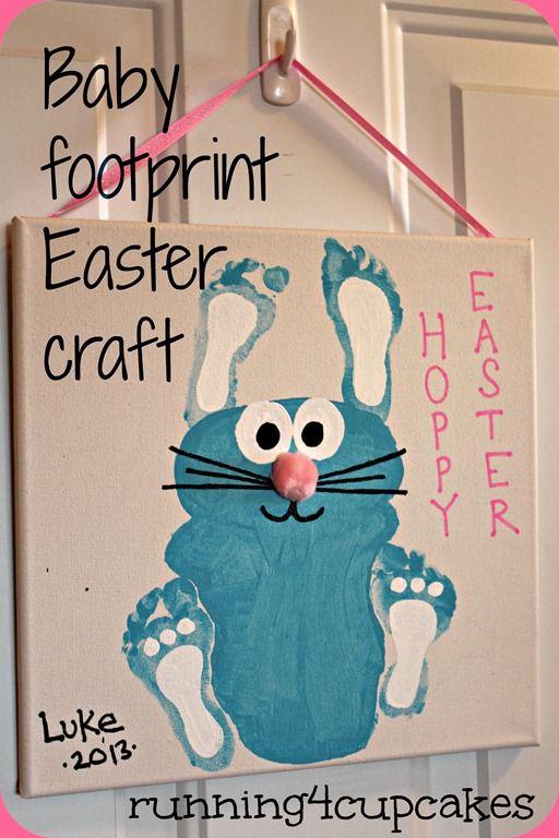 Easter Bunny footprint craft - running4cupcakes