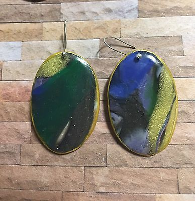 Handcrafted Polymer & Resin Drop Earrings Multicolor, Green Gold Black Oval  | eBay
