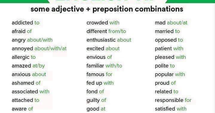 Adjectives are word that are used to modify qualify or add more meaning to Nouns or pronouns.  Adjectives may be Descriptive qualitative quantitative interrogative possessive or démonstrative.    Examples of adjectives are many few big short tall this huge white five nine mine yours that etc.  Prepositions are words that are used to show the relationship that exist between two words. Prepositions are used to show are words are related.    Examples of prépositions are on to with of off beside…