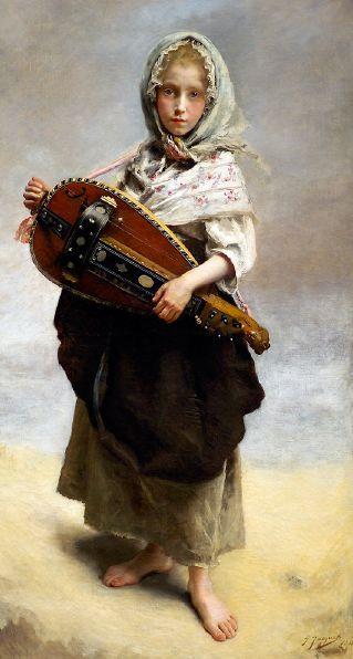 Girl Minstrel Gustave Jean Jacquet (1846-1909)
