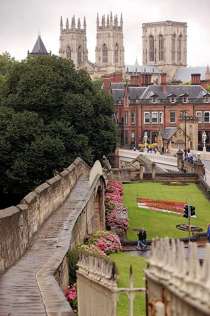 U.K. View of York Minster from the city's medieval walls, North Yorkshire, England