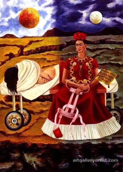 """Frida Kahlo, El árbol de la Esperanza"""" showing her two sides, the one which was damaged and her inner self. Frida pinto este cuadro para su patrón el Ing. Eduardo Morillo Safa después de una operación que le realizaron en EUA que no funciono."""