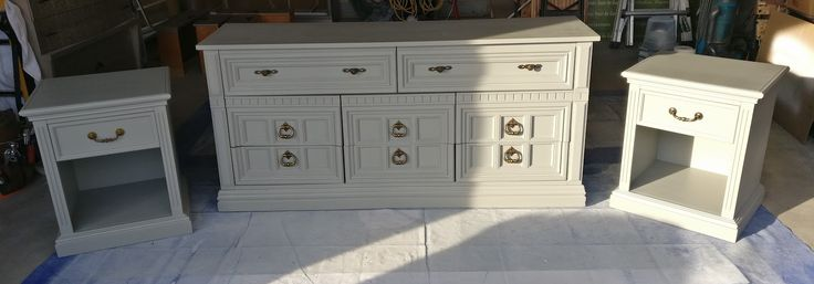 Dresser and 2 night tables in pale grey paint.