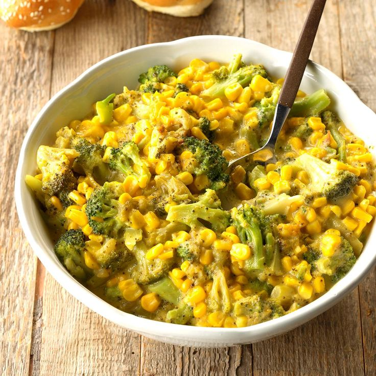 Corn and Broccoli in Cheese Sauce Recipe -This veggie side dish is a standby. My daughter likes to add leftover ham to it. Save room in the oven by making this savory side in your slow cooker. —Joyce Johnson, Uniontown, Ohio