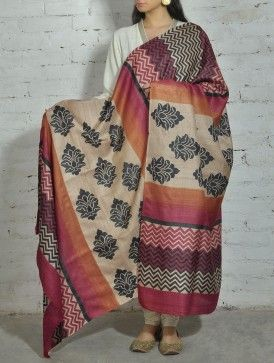 Love it. Beige-Red Printed Tussar Silk Dupatta - Hand block printed