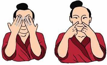 NARIZ masajearla con los dedos meñiques, y (frotarla por las aletas nasales) equilibra el qi del pulmón, descongestiona la nariz y afina el olfato presionar la base de la nariz