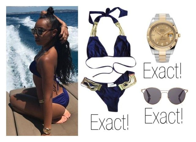 """Leigh Anne Pinnock"" by celebritiesstylefound on Polyvore featuring Beach Bunny, Rolex and Prada"