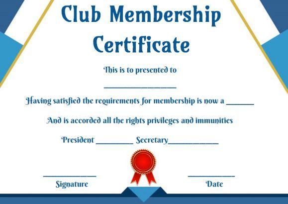 Free Club Membership- Certificate Templates