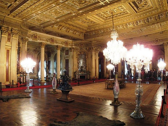 Dolmabahce Palace - interior view at night in Dolmabahce Palace
