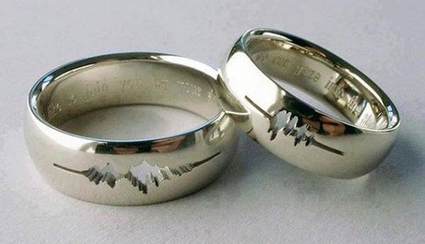These wedding rings are engraved with the wave forms of the couple's wedding vows.  Wow. Courtesy Andrew Rader's Twitter feed.