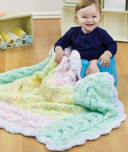 Knit Cable Border Blanket Knitting Pattern Red Heart