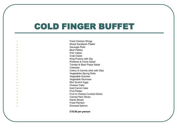 List Of Cold Buffet Food Ideas