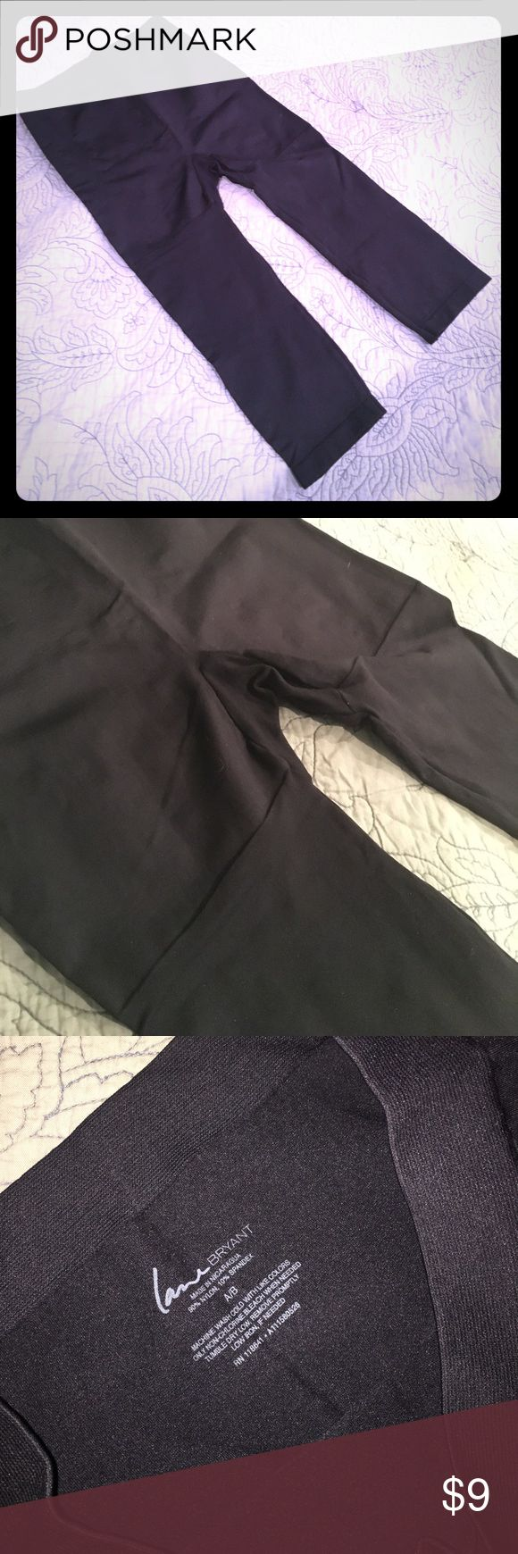 """Black cropped 16"""" inseam tights/ leggings Black cropped 16"""" inseam leggings—never worn, great under dresses/ skirts, or as an invisible extra layer in chilly weather. LB A/B size = 14/16W. The fabric is a sort of cross between thick tights and leggings. Lane Bryant Pants Leggings"""