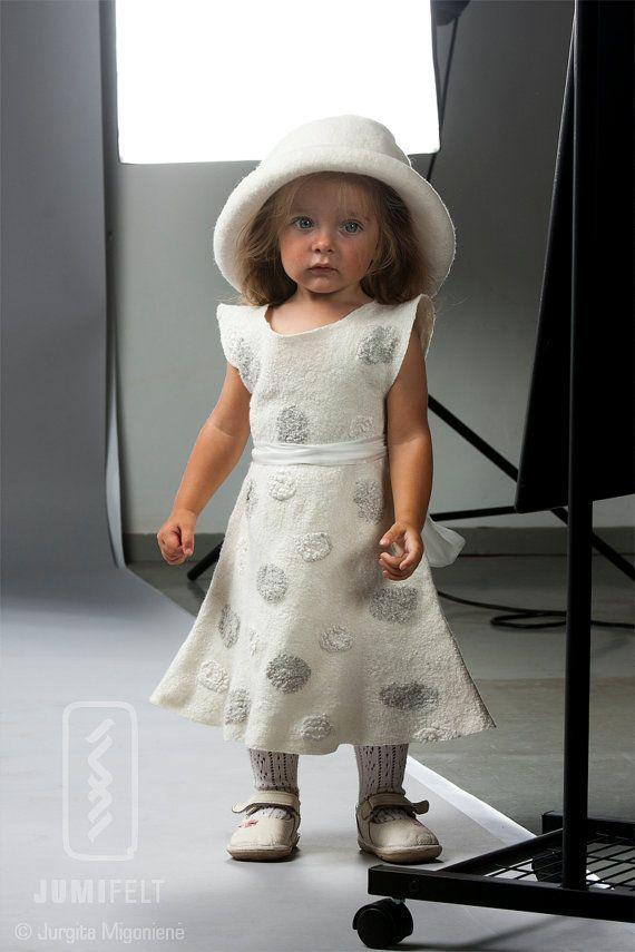White felt dress for girl Handmade silk and soft wool by JumiFelt