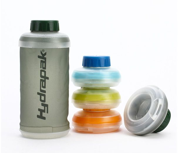 Hydrapak Stash Collapsible Bottle - Something like 100 billion single-use plastic water bottles are thrown in the trash each year. Using a bottle like this instead can keep you from adding to that number. And the Stash collapsible, soft-sided BPA & PVC free bottle squishes down to just 2-inches when empty, so it takes up minimal space. | werd.com