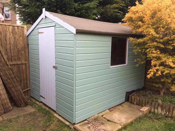 Newly painted shed in cuprinol garden shades seagrass and for Seagrass for landscaping