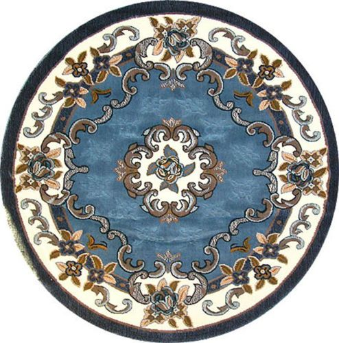 Persian Medallion Carpet 5x5 Round Area Rug Lt. Blue