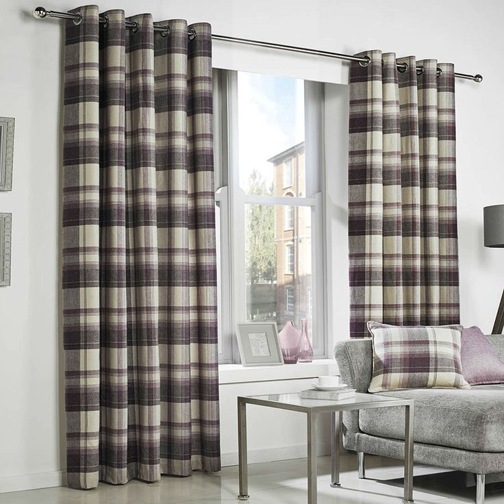 PURPLE TARTAN Check Curtains Highland Plum Plum Purple Natural Beige EYELET Ring Top (Cushion Covers - Pair): Amazon.co.uk: Kitchen & Home