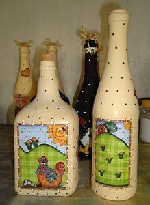 Pintura Country nas garrafas recicladas