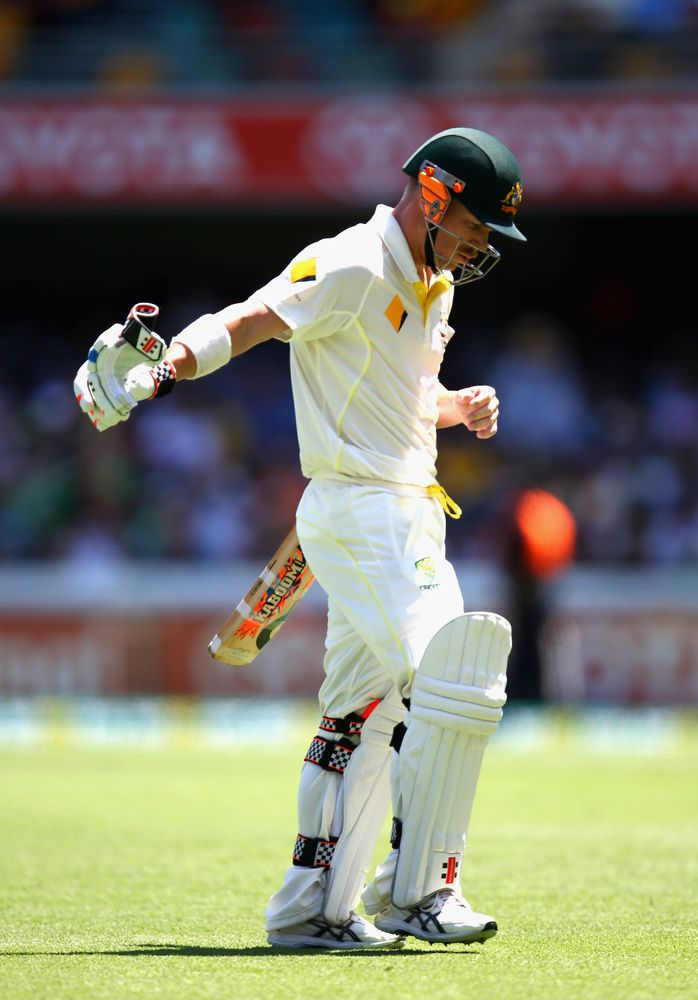 Ashes 2013: Stuart Broad Silences Boo-Boys With Five Wickets - David Warner of Australia looks dejected after being dismissed by Stuart Broad of England during day one of the First Ashes Test match between Australia and England at The Gabba on November 21, 2013 in Brisbane, Australia. (Photo by Ryan Pierse/Getty Images)